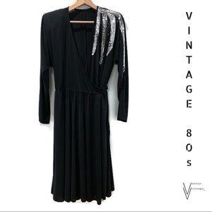 Vintage 80s Beaded Wrap Dress